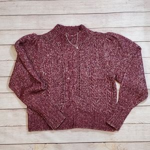 Rebecca Taylor Cable Knit Sweater Puff Sleeve Wool